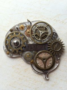 Steam Punk-inspired brain for Autism Awareness. Handmade by Courtney Cox. 20% of proceeds are donated to Autism Speaks!