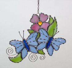 Stained Glass Suncatcher Blue Butterflies and Pink by GLASSbits #StainedGlassButterfly