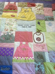 quilts made from baby clothing | Sinclair's baby quilt - made out of her baby ... | Quilts, Blankets ...