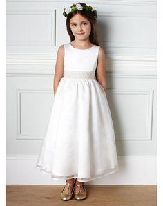 A Line Raso Puro Bianco Perline Abito Da Cerimonia Bambina Lungo in Ventita Online