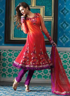 Striking Shaded Red Net Churidar Suit