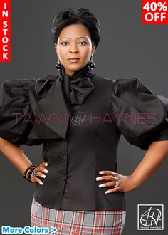 Tawni Haynes In-Stock Stretch Cotton Sateen Solid Bow Blouses African Print Skirt, African Print Fashion, African Fashion Dresses, Ankara Peplum Tops, African Goddess, African Blouses, Church Fashion, Africa Dress, Big Girl Fashion