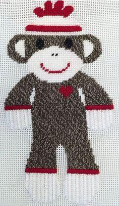 sock monkey needlepoint, designer unknown