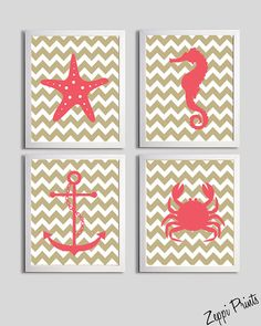 Nursery Art Chevron Beach Ocean Sea Coral Sand more by ZeppiPrints, $48.00 - I know you probably don't want beach stuff, but how cute is this?? @Amber Packo