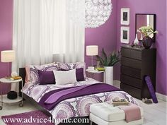 purple wall design and black bad design in bad room