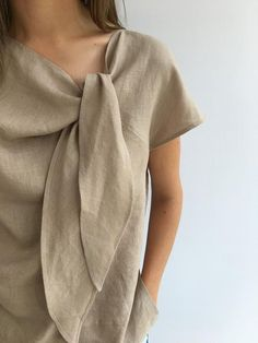 Light Linen Top Elegant Womens Top Linen blouse Linen Shirt Etsy - Plus Size Smart Outfit, Linen Blouse, Linen Shirt Dress, Linen Dresses, Plus Size Blouses, Elegant Woman, Blouse Designs, Fashion Models, Fashion Women
