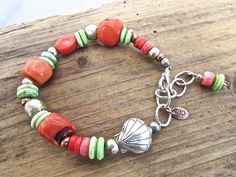 Beach Chic Boho Bracelet, Boho Luxe Coral Bracelet,.925 Hill Tribe Silver Seashell