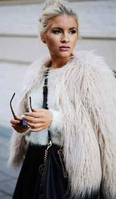 love the furry coat. style, fashion, clothes, faux fur