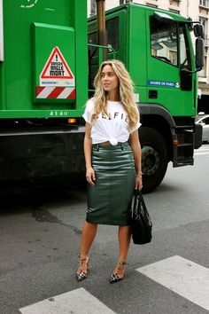Green t-shirt, black leather pencil skirt | My Style | Pinterest ...