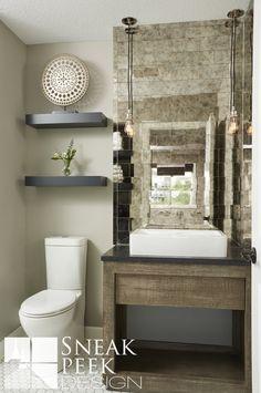 Industrial Bathroom Design  #antiquedmirror #mirrortile #vesselsink #reclaimedwood #woodvanity #white #cleandesign #chic #hextile #sneakpeekdesign