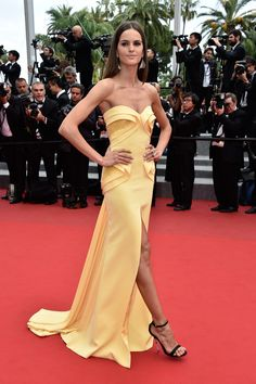 "Izabel Goulart in Georges Hobeika Couture attends the Closing Ceremony And ""Le Glace Et Le Ciel"" Premiere during The 68th Annual Cannes Film Festival #Cannes2015"
