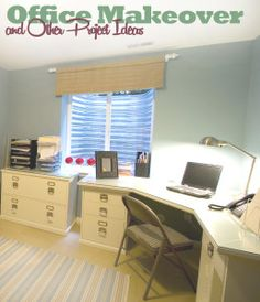 Office Makeover and Project Tips. Love the burlap valance too! Office Makeover, Basement Makeover, Home Projects, Home Crafts, Home Office Organization, Organizing, Home Command Center, Basement Inspiration, Home Office Space