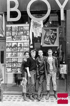Skinheads outside 'BOY,' 153 Kings Road, 1979