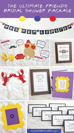 Friends Bridal Shower in a Box! Look no further for THE ULTIMATE Friends TV Show Bridal Shower! Complete with He's her lobster banner, Friends photo booth props, Friends guest book, lobster cake topper, Monica and Rachel's apartment door frame, Friends food cards, Central Perk decor and Friends themed bridal shower games! This is your one stop shop for all things Friends Bridal Shower!