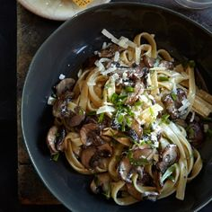 Fettuccine with Mushrooms, Tarragon, and Goat Cheese