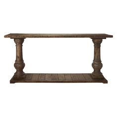 "Constructed of solid reclaimed pine, the Arhaus Hudson 71"" Rectangle Console Table in Brown features balustrade legs"