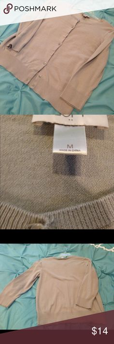 The Loft Gray Cardigan Sweater Med Worn a few times with a lot of life left  3/4 sleeves  100 Cotten  Comes from a smoke free home The Loft Sweaters Cardigans