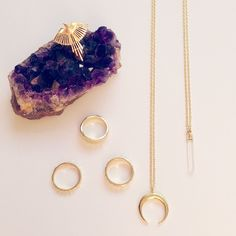 Golden Hour - Thunderbird Ring, Hammered Rings, Crescent Necklace and Aura Necklace by Torchlight Jewelry