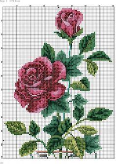 Rose in Glass Vase Cross Stitch Heart, Cross Stitch Borders, Cross Stitch Flowers, Cross Stitch Designs, Cross Stitching, Cross Stitch Embroidery, Embroidery Patterns, Cross Stitch Patterns, Crochet Cross