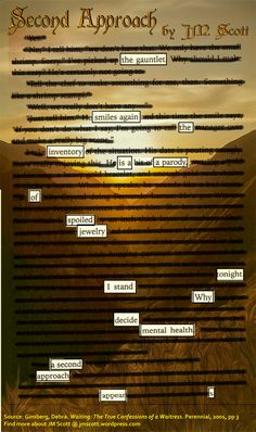 A blackout poem from the book Waiting by Debra Ginsberg