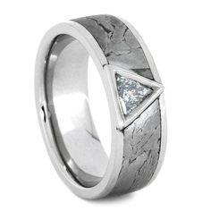 Triangle Cut Diamond Wedding Band, Palladium Ring With Seymchan Meteorite Inlay, Mens Diamond Ring
