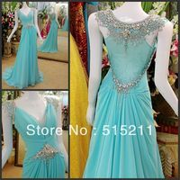 Luxury Crystal Cap Sleeves Empire Waist Sky Blue Chiffon Long Evening Dress Modest Prom Gowns 2013 New Arrival $179.99