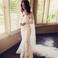 Long Sleeve Lace Wedding Dress Sexy See Through Bridal Gown Custom Size 6 8 10++