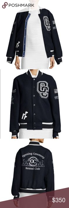 """Opening Ceremony Varsity Jacket Navy/white. Limited edition, sold out style, Varsity jacket. """"Opening Ceremony kennel-club"""" embroidery and dog patch. Super warm.  Oversize style, unisex. ~27"""" length. Front snap closure. Angled welt pockets; interior pocket. Lined. 80% wool, 20% nylon. Worn only once, great condition. Opening Ceremony Jackets & Coats"""