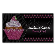 Modern Sparkling Cupcake Monogram Pastry Chef Business Card Template. I love this design! It is available for customization or ready to buy as is. All you need is to add your business info to this template then place the order. It will ship within 24 hours. Just click the image to make your own!