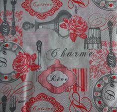 4 Kitchen Theme Napkins, Rose Motif Napkin, Cutlery Theme, Decoupage Napkins, Lunch Napkins, Tea Party Napkins, Collage Napkin (CUTLERY)