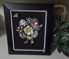 Vintage Jewelry Framed Wall Art Picture