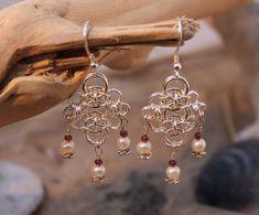 Statement Wedding Earrings/ Romantic Earrings/ Gemstone Earrings/ Delicate Earrings/ Chandelier Earrings/ Boho Bride/ Garnet and Pearl/ by AtlanticRose on Etsy