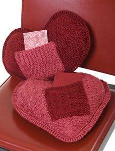 Caron International ~Free Project~I Love U Pillow.  Free knitting and crochet pattern.