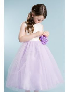 171f4586ef8 Sleeveless satin and tulle flower girl dress. White and champagne two-tone flower  girl dress with a satin sash.