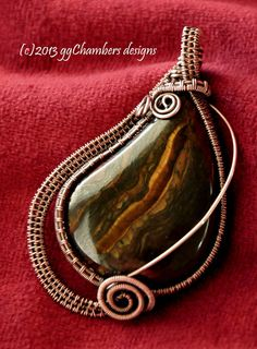 Marra Mamba Jasper Cabochon in an Antiqued Copper Woven Wire Pendant by ggChambersDesigns, $78.00