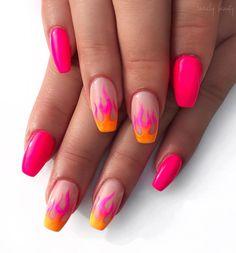 nails Neon Nails Art - Neon Nail Designs for Light and Dark Skin Neon Pink Nails, Neon Nail Art, Pink Nail Art, Pastel Nails, Dark Pink Nails, Lilac Nails, Rainbow Nails, Fancy Nails, Nail Design Glitter