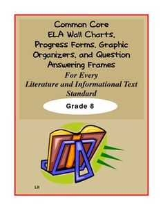 Common Core Resources for Middle School!!!  This document contains graphic organizers, question answering frames and wall charts aligned to EVERY Literature and Informational Text Standard.  There are even progress charts to monitor student progress too!  Click the image for more infomation.  More grade levels are accessible through this link too. $10.00