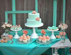 Coral & tiffany blue wedding
