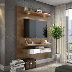 Foto 1 - Home Suspenso Para Tv Até 50 Polegadas 2 Gavetas Com Led E Espelho 100% Mdf Tb106 Nobre Dalla Costa