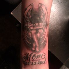 Mom Memorial Tattoo For Men Download Pictures Mom Tattoos, Future Tattoos, Tattoos For Guys, Rest In Peace Tattoos, Memories, Ink, Tattoo Ideas, Angel, Grey
