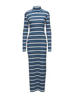 DAY - 2ND Colorama Ribbed fabric Fitted silhouette Dress  Winter Dress Winter, Winter Dresses, Dress Silhouette, Ribbed Fabric, High Neck Dress, Blazer, Navy, Fitness, Summer