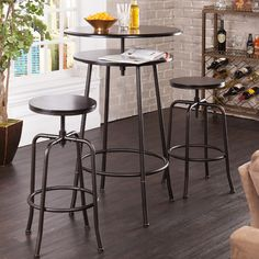 Make a design splash in small spaces with the Holly & Martin Kalomar 3 Piece Adjustable Pub Table and Stool Set ! This vintage industrial-inspired set. Kitchen Dining Sets, Dining Room Sets, Dining Room Table, Kitchen Nook, Small Dining, Kitchen Tables, Kitchen Small, Country Kitchen, Kitchen Ideas