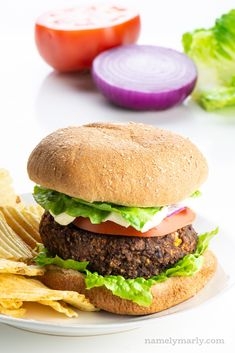 This Sweet Potato Black Bean Burger recipe will rock your world! Sweet potatoes add colorful flavor and great texture. Make a double batch and freeze half! Vegan Sandwich Recipes, Vegan Dinner Recipes, Vegetarian Recipes, Vegan Sandwiches, Breakfast Sandwiches, Vegan Bean Burger, Vegan Burgers, Sweet Potato Burgers, Black Bean Burgers