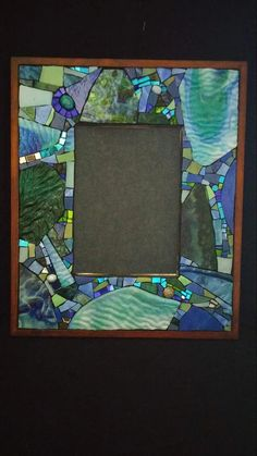 Rectangular mosaic mirror, dimensions are 12 x 10 mirror size is 6 x 4 used include stained glass, beads, and colored mirror. *Mirror is blacked out for photographing Mosaic Artwork, Mirror Mosaic, Mirror Art, Mosaic Glass, Mosaic Tiles, Glass Art, Tiling, Stained Concrete, Stained Glass