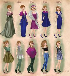 Anna in 20th century fashion by BasakTinli on deviantART This person has done a lot of these. They're pretty cool, and a little educational too.