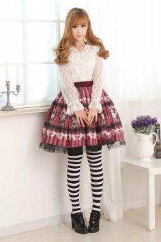 Customized Violet Knee-length Sweet Lolita Skirt with Prints and Lace Lolita Fashion $44.00  #Lovejoynet  #Lolita
