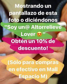 """ATENCIÓN  Mostrándonos esta foto o diciéndonos """"Soy un@ Altorrelieve Lover"""" obtienes automáticamente un 10% de descuento en tus compras en efectivo aquí en Mall Espacio M! #aprovecha #altorrelieve #chile #sinniquel #aceroquirurgico #oferta #promocion #descuento #mallespacioM"""
