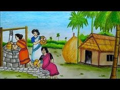 How to draw scenery of women's taking water from well step by step Oil Pastel Paintings, Oil Pastel Art, Oil Pastel Drawings, Indian Paintings, Nature Drawing For Kids, Art Drawings For Kids, Easy Drawings, Landscape Drawings, Cool Landscapes