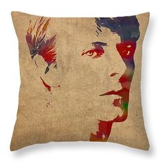 "David Bowie Rock Star Musician Watercolor Portrait on Worn Distressed Canvas Throw Pillow 14"" x 14"""