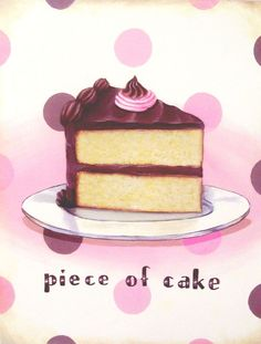 vintage bakery inspired piece of cake matted print pink chocolate M by Everyday is a Holiday